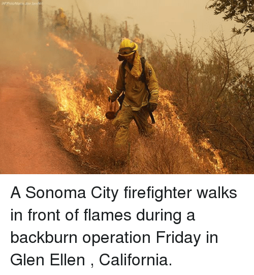 Friday, Memes, and California: A Sonoma City firefighter walks in front of flames during a backburn operation Friday in Glen Ellen , California.