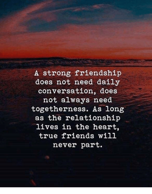 true friends: A strong friendship  does not need daily  conversation, does  not always need  togetherness. As long  as the relationship  lives in the heart,  true friends will  never part.