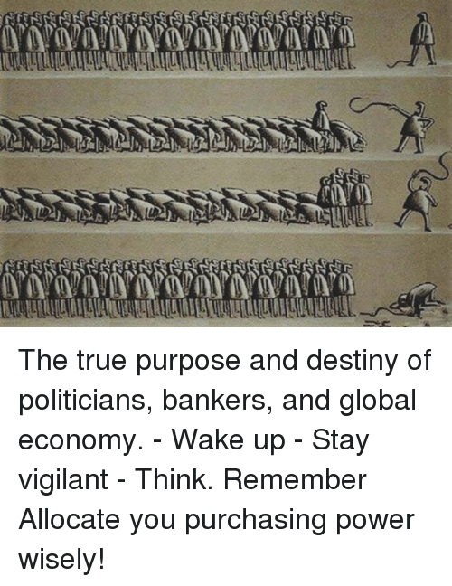 Destiny, Memes, and Globalization: A The true purpose and destiny of politicians, bankers, and global economy.  - Wake up  - Stay vigilant  - Think. Remember   Allocate you purchasing power wisely!