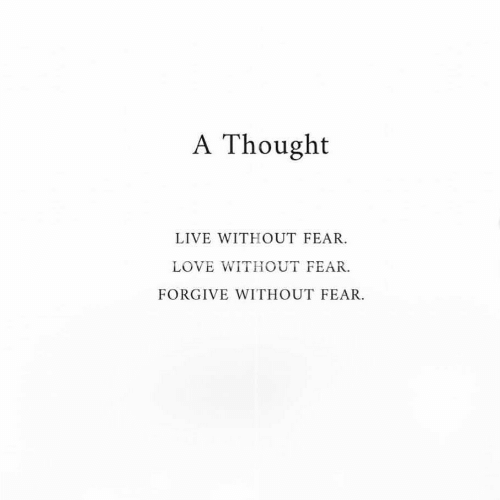 Love, Live, and Fear: A Thought  LIVE WITHOUT FEAR.  LOVE WITHOUT FEAR.  FORGIVE WITHOUT FEAR.