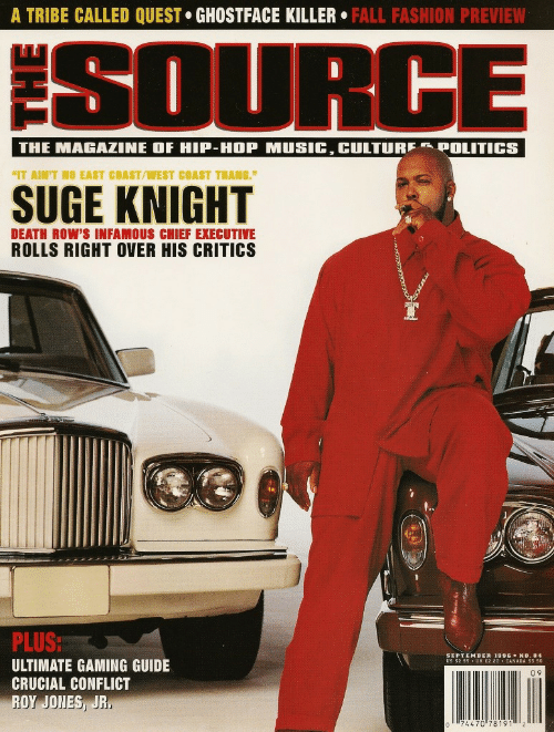 "Fall, Fashion, and West Coast: A TRIBE CALLED QUEST GHOSTFACE KILLER. FALL FASHION PREVIEW  SOURGE  IT AIN'T NO EAST COAST/WEST COAST THANG.""  DEATH ROW'S INFAMOUS CHIEF EXECUTIVE  ROLLS RIGHT OVER HIS CRITICS  SR  PLUS  ULTIMATE GAMING GUIDE  CRUCIAL CONFLICT  ROY JONES, JR  EPTEMBER 1996 ◆ NO.84  0 9  74470 781912"