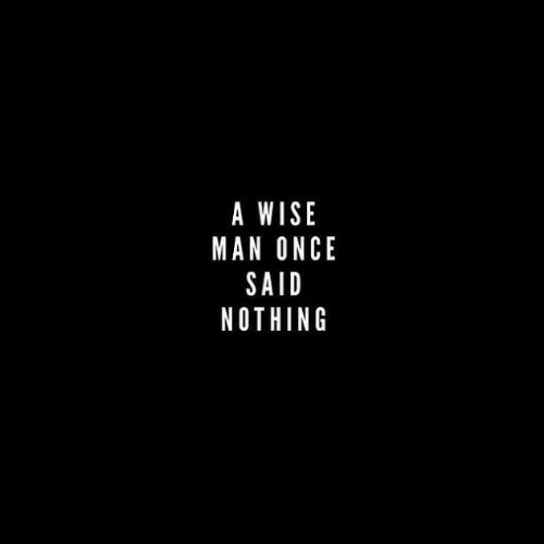 Once, Man, and Nothing: A WISE  MAN ONCE  SAID  NOTHING