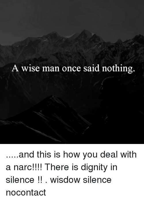 Narcing: A wise man once said nothing. .....and this is how you deal with a narc!!!! There is dignity in silence !! . wisdow silence nocontact