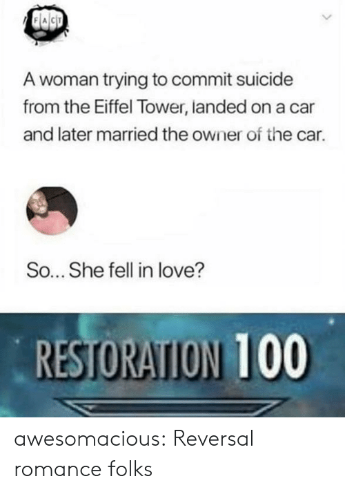Love, Tumblr, and Blog: A woman trying to commit suicide  from the Eiffel Tower, landed on a car  and later married the owner of the car.  So... She fell in love?  RESTORATION 100 awesomacious:  Reversal romance folks