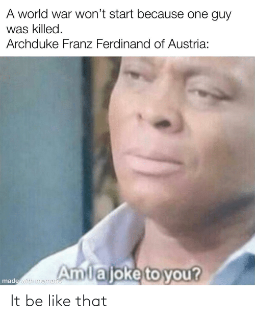 Wont: A world war won't start because one guy  was killed.  Archduke Franz Ferdinand of Austria:  Amlajoke to you?  made with nmematic It be like that