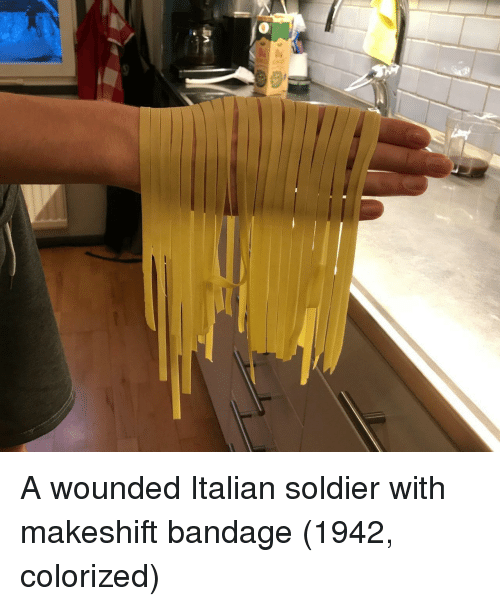 Soldier, Italian, and Makeshift: A wounded Italian soldier with makeshift bandage (1942, colorized)