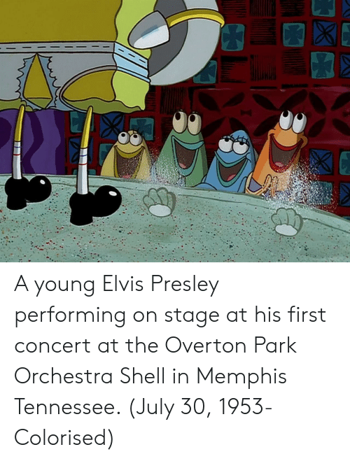 Tennessee, Elvis Presley, and Shell: A young Elvis Presley performing on stage at his first concert at the Overton Park Orchestra Shell in Memphis Tennessee. (July 30, 1953- Colorised)