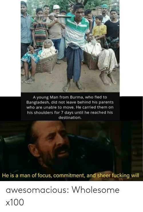 Focus: A young Man from Burma, who fled to  Bangladesh, did not leave behind his parents  who are unable to move. He carried them on  his shoulders for 7 days until he reached his  destination.  He is a man of focus, commitment, and sheer fucking will awesomacious:  Wholesome x100