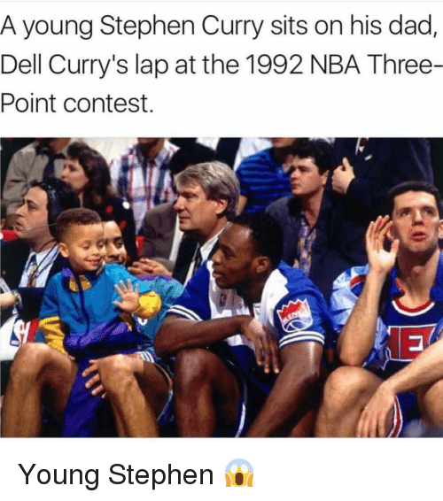 Stephen Curry: A young Stephen Curry sits on his dad,  Dell Curry's lap at the 1992 NBA Three-  Point contest. Young Stephen 😱