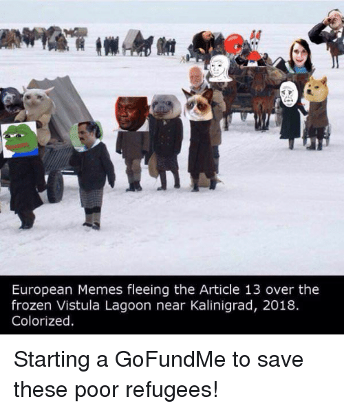 lagoon: A0  European Memes fleeing the Article 13 over the  frozen Vistula Lagoon near Kalinigrad, 2018.  Colorized Starting a GoFundMe to save these poor refugees!