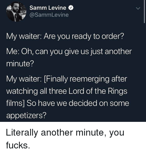 Memes, Lord of the Rings, and 🤖: A1 , Samm Levine  @SammLevine  My waiter: Are you ready to order?  Me: Oh, can you give us just another  minute?  My waiter: [Finally reemerging after  watching all three Lord of the Rings  films] So have we decided on some  appetizers? Literally another minute, you fucks.