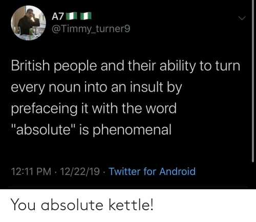 "British: A7  @Timmy_turner9  British people and their ability to turn  every noun into an insult by  prefaceing it with the word  ""absolute"" is phenomenal  12:11 PM · 12/22/19 · Twitter for Android You absolute kettle!"