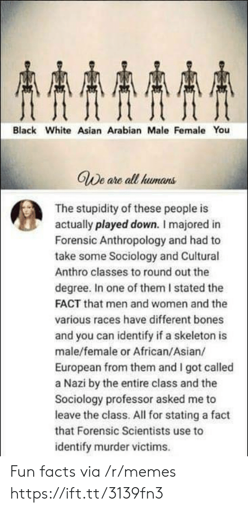 Stupidity: AAAA  Black White Asian Arabian Male Female You  GWe are all humans  The stupidity of these people is  actually played down. I majored in  Forensic Anthropology and had to  take some Sociology and Cuitural  Anthro classes to round out the  degree. In one of them I stated the  FACT that men and women and the  various races have different bones  and you can identify if a skeleton is  male/female or African/Asian/  European from them and I got called  a Nazi by the entire class and the  Sociology professor asked me to  leave the class. All for stating a fact  that Forensic Scientists use to  identify murder victims Fun facts via /r/memes https://ift.tt/3139fn3