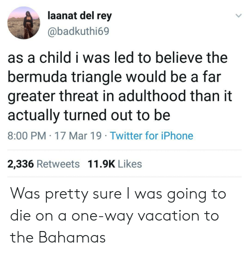 Bermuda Triangle, Iphone, and Rey: aanat del rey  @badkuthi69  as a child i was led to believe the  bermuda triangle would be a far  greater threat in adulthood than it  actually turned out to be  8:00 PM 17 Mar 19 Twitter for iPhone  2,336 Retweets 11.9K Likes Was pretty sure I was going to die on a one-way vacation to the Bahamas