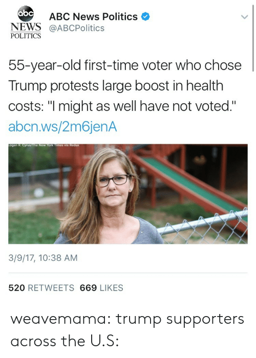 """Abc, News, and Politics: abc  ABC News Politics  NEWS@ABCPolitics  POLITICS  55-year-old first-time voter who chose  Trump protests large boost in health  costs: """"I might as well have not voted.""""  abcn.ws/2m6jenA  3/9/17, 10:38 AM  520 RETWEETS 669 LIKES weavemama:  trump supporters across the U.S:"""