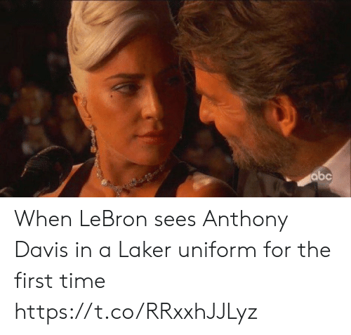 Abc, Sports, and Anthony Davis: abc When LeBron sees Anthony Davis in a Laker uniform for the first time https://t.co/RRxxhJJLyz