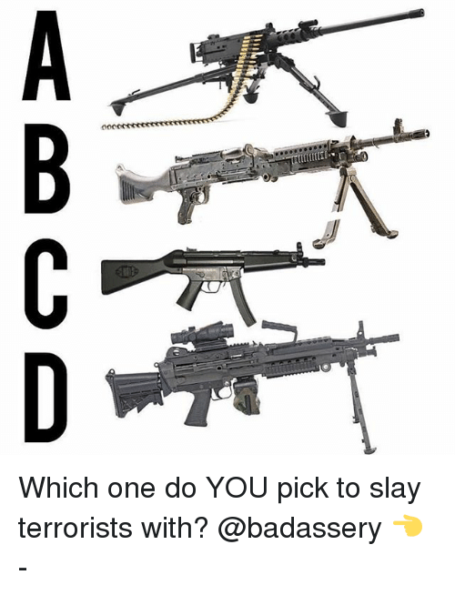Memes, 🤖, and One: ABCD Which one do YOU pick to slay terrorists with? @badassery 👈 -