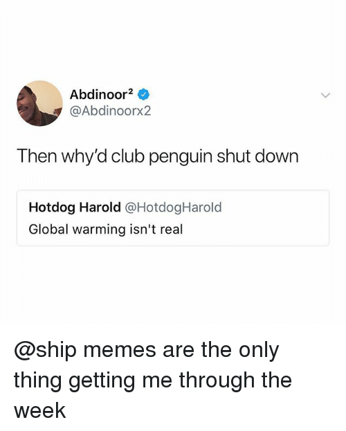 Club, Global Warming, and Memes: Abdinoor2  @Abdinoorx2  Then why'd club penguin shut down  Hotdog Harold @HotdogHarold  Global warming isn't real @ship memes are the only thing getting me through the week