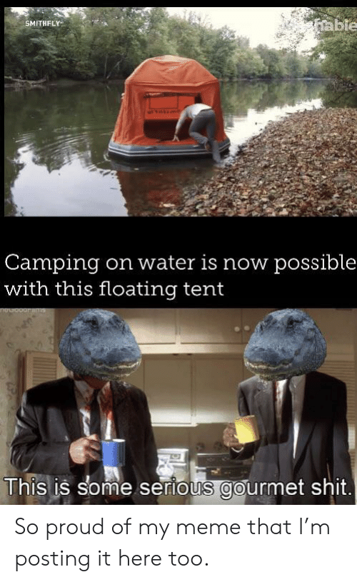 Meme, Shit, and Water: able  SMITHFLY  Camping  with this floating tent  on water is now possible  This is some serious gourmet shit. So proud of my meme that I'm posting it here too.