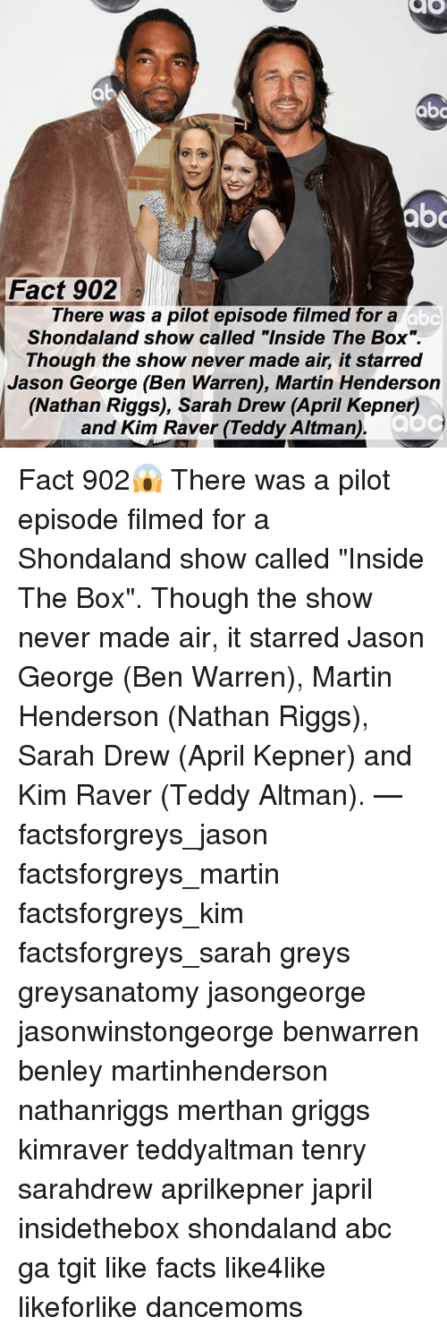 "Drewing: abo  Fact 902  There was a pilot episode filmed for a  Shondaland show called ""Inside The Box"".  Though the show never made air, it starred  Jason George (Ben Warren), Martin Henderson  (Nathan Riggs), Sarah Drew (April Kepner)  and Kim Raver (Teddy Altman) Fact 902😱 There was a pilot episode filmed for a Shondaland show called ""Inside The Box"". Though the show never made air, it starred Jason George (Ben Warren), Martin Henderson (Nathan Riggs), Sarah Drew (April Kepner) and Kim Raver (Teddy Altman). — factsforgreys_jason factsforgreys_martin factsforgreys_kim factsforgreys_sarah greys greysanatomy jasongeorge jasonwinstongeorge benwarren benley martinhenderson nathanriggs merthan griggs kimraver teddyaltman tenry sarahdrew aprilkepner japril insidethebox shondaland abc ga tgit like facts like4like likeforlike dancemoms"