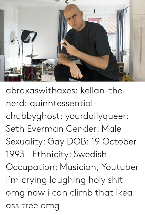 occupation: abraxaswithaxes:  kellan-the-nerd:  quinntessential-chubbyghost:   yourdailyqueer:  Seth Everman  Gender: Male  Sexuality: Gay  DOB: 19 October 1993      Ethnicity: Swedish  Occupation: Musician, Youtuber      I'm crying laughing holy shit   omg now i can climb that ikea ass tree omg