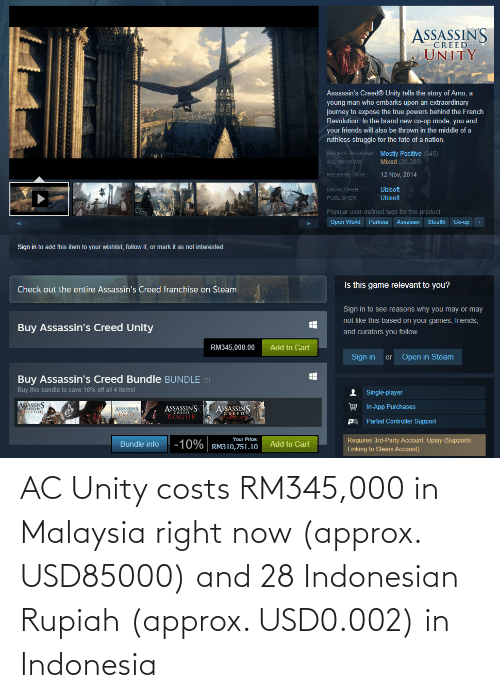 Indonesia: AC Unity costs RM345,000 in Malaysia right now (approx. USD85000) and 28 Indonesian Rupiah (approx. USD0.002) in Indonesia