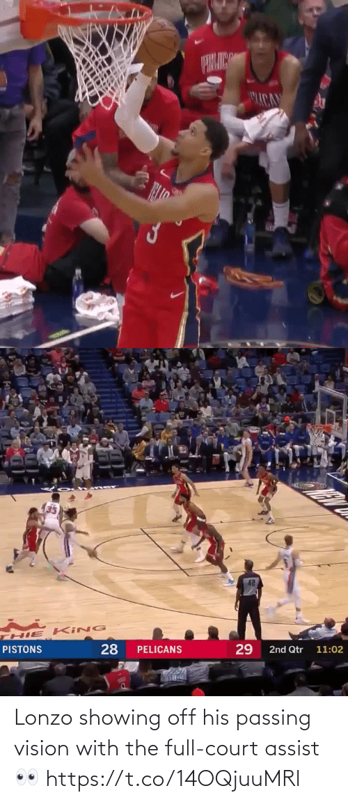 court: ACA   42  HIE KING  28  29  PISTONS  PELICANS  2nd Qtr 11:02 Lonzo showing off his passing vision with the full-court assist👀 https://t.co/14OQjuuMRl