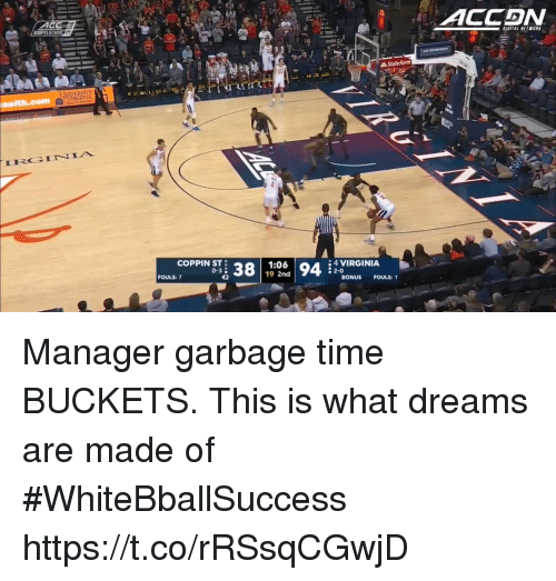 Basketball, White People, and State Farm: ACCDN  State Farm  IRGINIA  COPPIN ST  0-3  1:06  19 2nd  4 VIRGINIA  2-0  FOULS: 7  BONUS FOULS: 1 Manager garbage time BUCKETS. This is what dreams are made of #WhiteBballSuccess https://t.co/rRSsqCGwjD