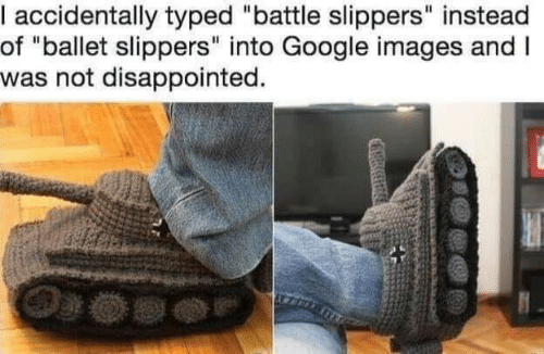 """Ballet: accidentally typed """"battle slippers"""" instead  of """"ballet slippers"""" into Google images andI  was not disappointed."""