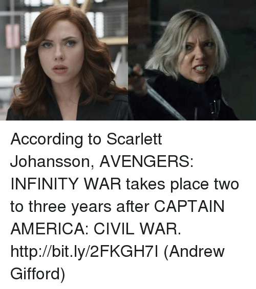 America, Captain America: Civil War, and Memes: According to Scarlett Johansson, AVENGERS: INFINITY WAR takes place two to three years after CAPTAIN AMERICA: CIVIL WAR. http://bit.ly/2FKGH7I  (Andrew Gifford)