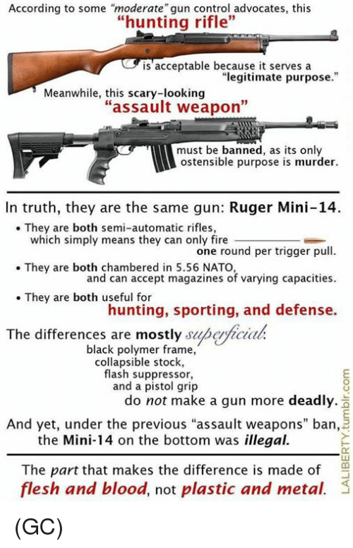 "Fire, Memes, and Control: According to some ""moderate"" gun control advocates, this  ""hunting rifle""  is'acceptable because it serves a  ""legitimate purpose.""  Meanwhile, this scary-looking  ""assault weapon""  must be banned, as its only  ostensible purpose is murder.  In truth, they are the same gun: Ruger Mini-14.  They are both semi-automatic rifles,  which simply means they can only fire  one round per trigger pull  and can accept magazines of varying capacities  hunting, sporting, and defense.  . They are both chambered in 5.56 NATO,  They are both useful for  The differences are mostly superficiah  black polymer frame,  collapsible stock,  flash suppressor,  and a pistol grip  do not make a gun more deadly.  And yet, under the previous ""assault weapons"" ban,  the Mini-14 on the bottom was illegal.  The part that makes the difference is made of  flesh and blood, not plastic and metal. (GC)"