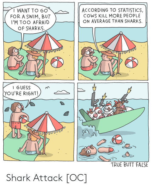 Shark: ACCORDING TO STATISTICS,  COWS KILL MORE PEOPLE  ON AVERAGE THAN SHARKS.  I WANT TO G0  FOR A SWIM, BUT  I'M TOO AFRAID  OF SHARKS.  I GUESS  YOU'RE RIGHT!  TRUE BUTT FALSE Shark Attack [OC]