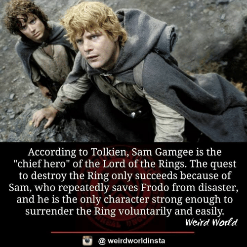 """Memes, The Lord of the Rings, and Weird: According to Tolkien, Sam Gamgee is the  """"chief hero"""" of the Lord of the Rings. The quest  to destroy the Ring only succeeds because of  Sam, who repeatedly saves Frodo from disaster,  and he is the only character strong enough to  surrender the Ring voluntarily and easily  Weird World  a weirdworldinsta"""