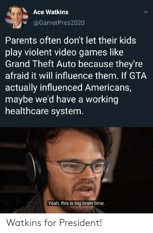 Theft: Ace Watkins  @GamerPres2020  Parents often don't let their kids  play violent video games like  Grand Theft Auto because they're  afraid it will influence them. If GTA  actually influenced Americans,  maybe we'd have a working  healthcare system.  Yeah, this is big brain time. Watkins for President!