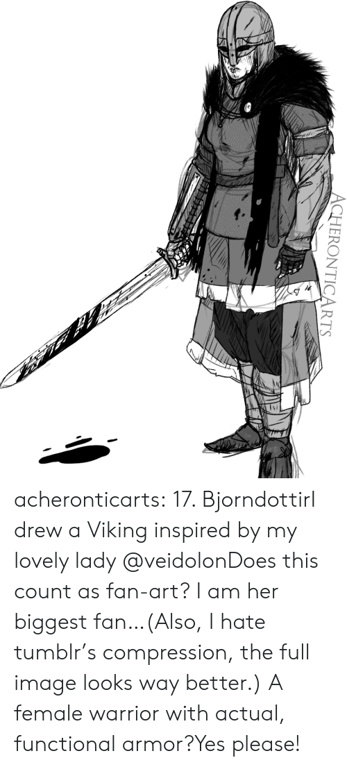 Functional: ACHERONTICARTS acheronticarts:  17. BjorndottirI drew a Viking inspired by my lovely lady @veidolonDoes this count as fan-art? I am her biggest fan…(Also, I hate tumblr's compression, the full image looks way better.)  A female warrior with actual, functional armor?Yes please!