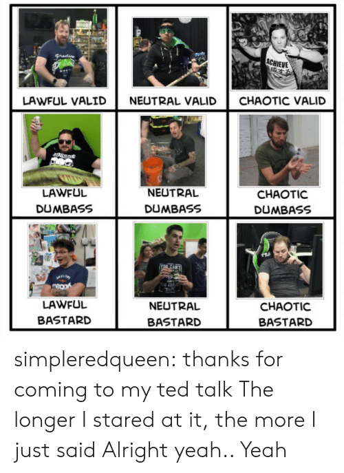 Ted, Tumblr, and Yeah: ACHIEVE  LAWFUL VALID  NEUTRAL VALID  CHAOTIC VALID  LAWFUL  DUMBASS  NEUTRAL  DUMBASS  CHAOTIC  DUMBASS  LAWFUL  BASTARD  NEUTRAL  BASTARD  CHAOTIC  BASTARD simpleredqueen:  thanks for coming to my ted talk  The longer I stared at it, the more I just said Alright yeah.. Yeah