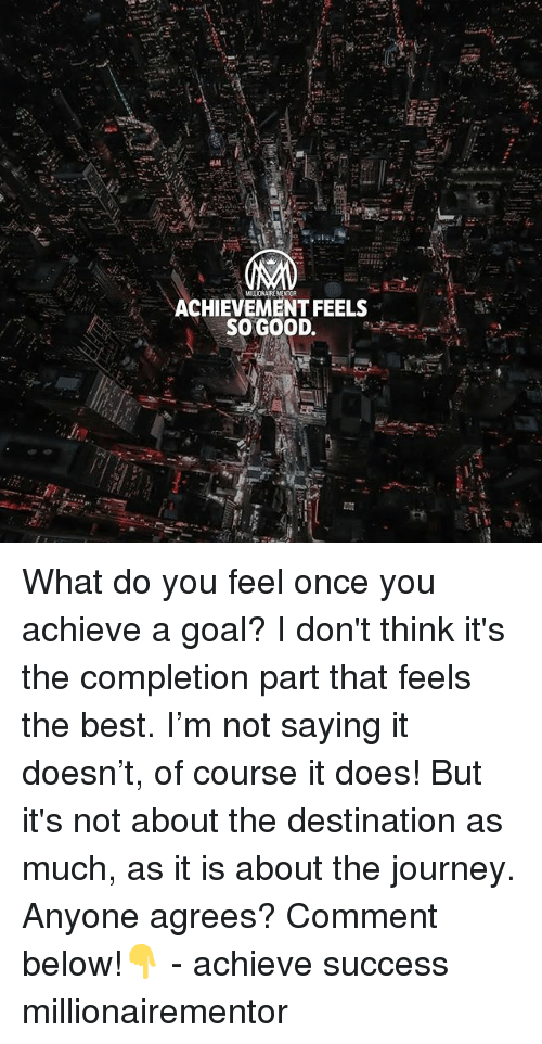 Journey, Memes, and Best: ACHIEVEMENT FEELS  SO GOOD. What do you feel once you achieve a goal? I don't think it's the completion part that feels the best. I'm not saying it doesn't, of course it does! But it's not about the destination as much, as it is about the journey. Anyone agrees? Comment below!👇 - achieve success millionairementor