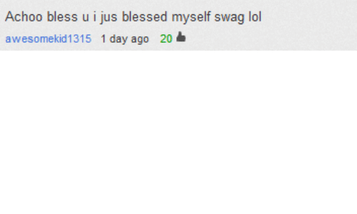 Blessed, Lol, and Swag: Achoo bless u i jus blessed myself swag lol  awesomekid1315 1 day ago 20