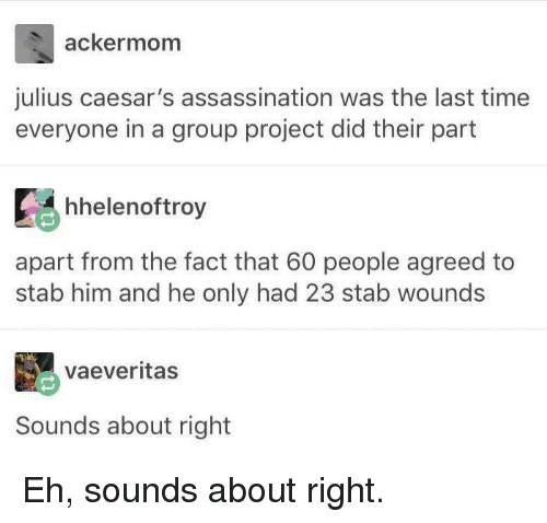 Assassination: ackermom  julius caesar's assassination was the last time  everyone in a group project did their part  hhelenoftroy  apart from the fact that 60 people agreed to  stab him and he only had 23 stab wounds  vaeveritas  Sounds about right Eh, sounds about right.