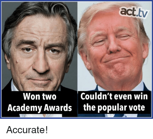 Academy Awards, Memes, and Academy: act.tv  Couldn't even win  Won tw0  Academy Awards  the popular vote Accurate!