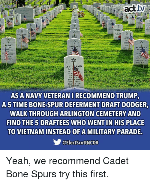 Memes, Yeah, and Heart: act.tv  Ti  TOB  STINSO  EREK  RICHARD J  LLEN  YATT  PRI  US AIR  OCT 4:OiO  PURPLE HEART  LEVI ERAIN  NU  SPC  AFGH  SEP  JUN2 20  BRON E STA  PURPL HEART  BELONED SON  &BROTHER  AS A NAVY VETERAN I RECOMMEND TRUMP,  A 5 TIME BONE-SPUR DEFERMENT DRAFT DODGER  WALK THROUGH ARLINGTON CEMETERY AND  FIND THE 5 DRAFTEES WHO WENT IN HIS PLACE  TO VIETNAM INSTEAD OF A MILITARY PARADE  @ElectScottNC08 Yeah, we recommend Cadet Bone Spurs try this first.