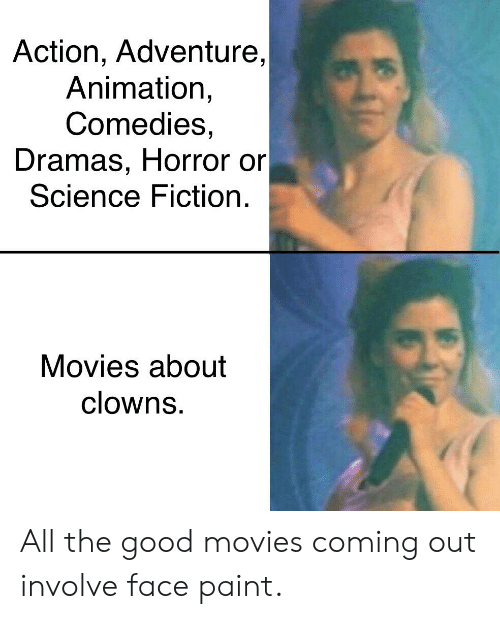 Movies, Clowns, and Good: Action, Adventure,  Animation,  Comedies,  Dramas, Horror or  Science Fiction  Movies about  clowns All the good movies coming out involve face paint.