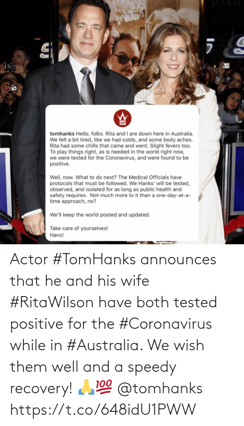 recovery: Actor #TomHanks announces that he and his wife #RitaWilson have both tested positive for the #Coronavirus while in #Australia. We wish them well and a speedy recovery! 🙏💯 @tomhanks https://t.co/648idU1PWW
