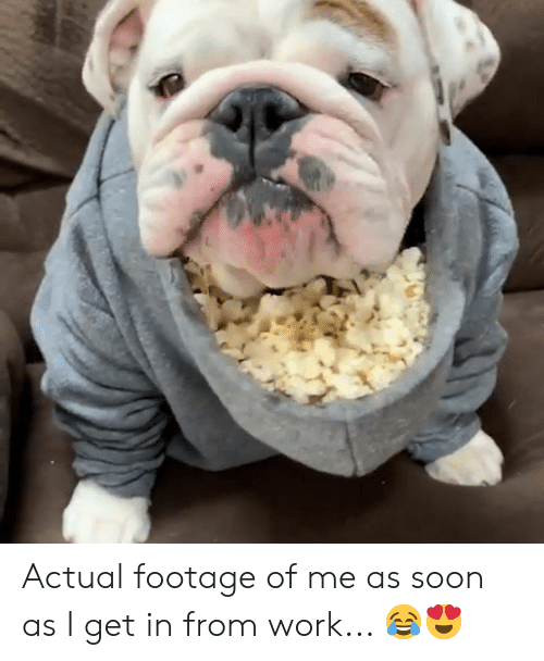 Soon..., Work, and Get: Actual footage of me as soon as I get in from work... 😂😍