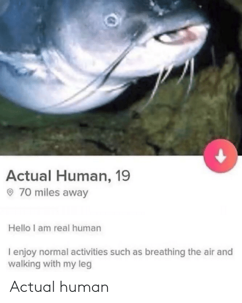 Hello, Human, and Air: Actual Human, 19  O 70 miles away  Hello I am real human  I enjoy normal activities such as breathing the air and  walking with my leg Actual human