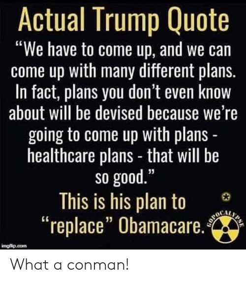 "Obamacare: Actual Trump Quote  ""We have to come up, and we can  come up with many different plans.  In fact, plans you don't even know  about will be devised because we're  going to come up with plans  healthcare plans - that will be  so good  This is his plan to 3  ""replace"" Obamacare.  13 What a conman!"