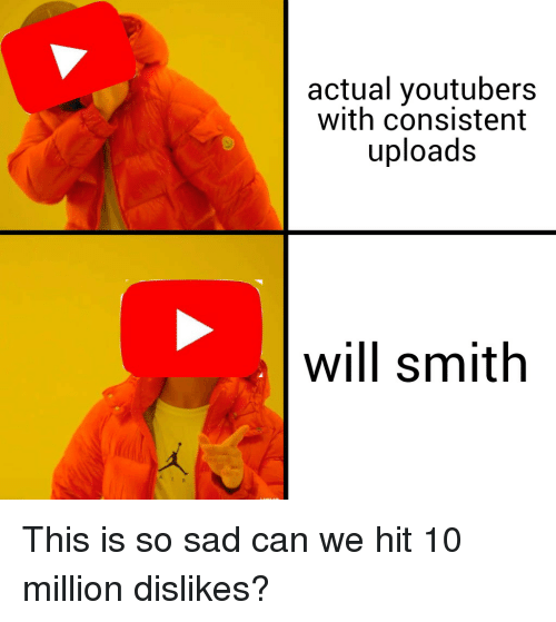 Will Smith, Dank Memes, and Sad: actual youtubers  with consistent  uploads  will smith