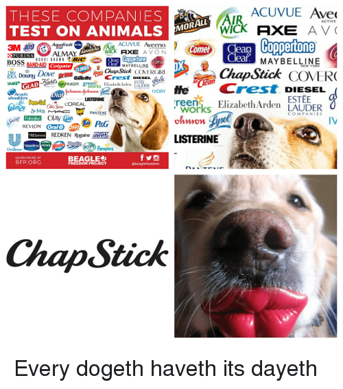 """Animals, Avon, and Head: ACUVUE Ave  THESE COMPANIES  TEST ON ANIMALS MO  AIR  ACTIVE  3M 09  PURINAAL  ACUVUE Aveeno  WICk AXE AVON  eaą  ea  Coppertone  BOBBI BROWN """" Bic (  MAYBELLINE  BANDAIDColgate  ea MAYBELLINE  ChapSick COVERGIRI  NEW YORK  DXDoun Dve prand GilleeE  GLAD ehl  head&  en ElizabethArden LAUDER  ESTEE  Clea  AMS  NieR gre  Crest. DIESEL  reemElizabeth Arden LAUDER  COMPANTES  Dial  ESTEE  shoulders  LISTERINE  MARY KAY  reze  Old Spice  works  olnwon  Sr lves  PANTENE  COMPANIES  PEG  IV  REDKEN Rgained  LISTERINE  Vaseline vicks  Woolte  Unilever  ampers  BEAGLE  LEARN MORE AT  BFP.ORG  FREEDOM PROJECT  @beaglefreedom  ChapStick"""
