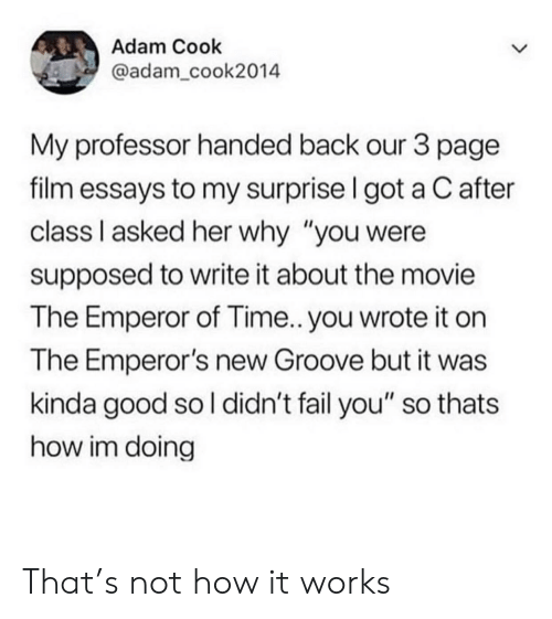 """Emperor's New Groove, Fail, and Good: Adam Cook  @adam_cook2014  My professor handed back our 3 page  film essays to my surprise I got a C after  class I asked her why """"you were  supposed to write it about the movie  The Emperor of Time.. you wrote it on  The Emperor's new Groove but it was  kinda good so l didn't fail you"""" so thats  how im doing That's not how it works"""