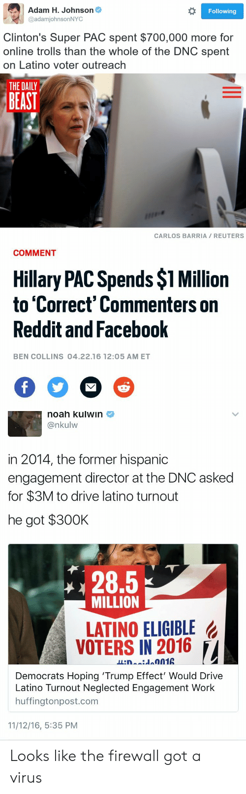 Facebook, Reddit, and Work: Adam H. Johnson  @adamjohnsonNYC  Following  Clinton's Super PAC spent $700,000 more for  online trolls than the whole of the DNC spent  on Latino voter outreach   THE DAILY  BEAST  CARLOS BARRIA REUTERS  COMMENT  Hillary PAC Spends $1 Million  to 'Correct' Commenters on  Reddit and Facebook  2  BEN COLLINS 04.22.16 12:05 AM ET   noah kulwin  @nkulw  in 2014, the former hispanic  engagement director at the DNC asked  for $3M to drive latino turnout  he got $30OK  28.5  MILLION  LATINO ELIGIBLE  VOTERS IN 2016 /,  Democrats Hoping 'Trump Effect' Would Drive  no Turnout Neglected Engagement Work  huffingtonpost.com  11/12/16, 5:35 PM Looks like the firewall got a virus